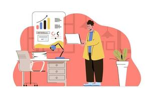 Business strategy concept for website and mobile site vector