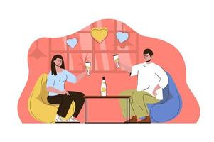 Romantic dinner concept for website and mobile site vector