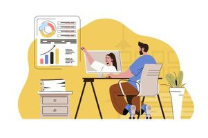 Video conference concept for website and mobile site vector