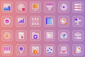 Big data analysis web glassmorphic icons set vector