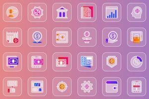 Online banking web glassmorphic icons set vector