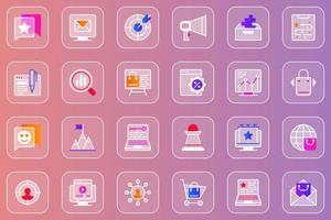 Digital marketing web glassmorphic icons set vector