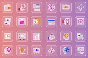 Money web glassmorphic icons set vector