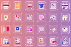 Online shopping web glassmorphic icons set vector