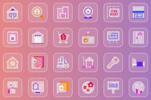 Real estate web glassmorphic icons set vector