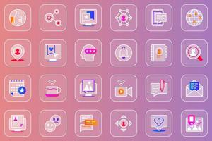 Social network web glassmorphic icons set vector