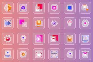 Artificial intelligence web glassmorphic icons set vector