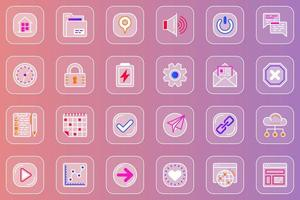 User interface web glassmorphic icons set vector