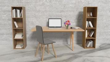 diseño de interiores de oficina de trabajo con laptop foto
