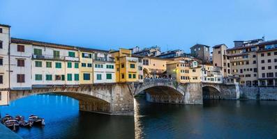 Sunset on Ponte Vecchio - Old Bridge - in Florence, Italy. photo