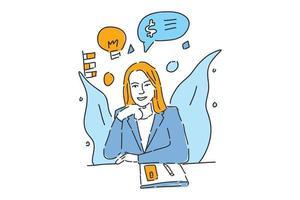 business woman sit on desk  drawn illustration vector