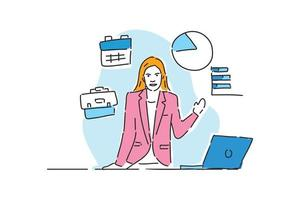 business woman presentation with laptop drawn illustration vector