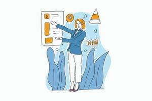 business woman posture with icon drawn illustration vector