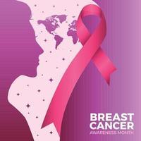 conciencia del cáncer de mama con cinta y concepto de mujer vector