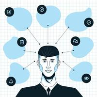 Hand Drawn Business Man with Mind Mapping Concept vector