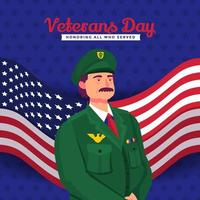 An Officer Honoring Fallen Heroes on Veterans Day vector