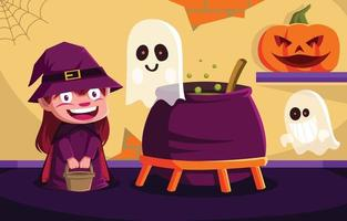 Witch Girl Working on Halloween Preparation vector