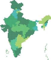 Green square shape India map on white background. vector