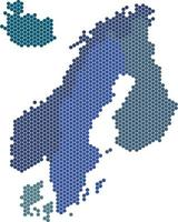 Hexagon shape Nordic counties map on white background. vector