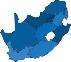 Blue outline South Africa map on white background. vector