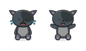 Cute cat cry and laugh cartoon icon illustration vector
