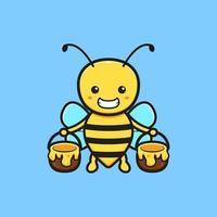 Cute bee holding jar of honey cartoon icon illustration vector