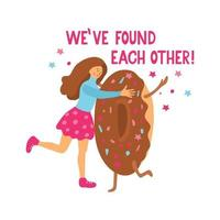 A nice girl and cute tasty donut have found each other vector