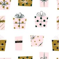 Wrapped Christmas Presents Seamless Repeat Vector Pattern