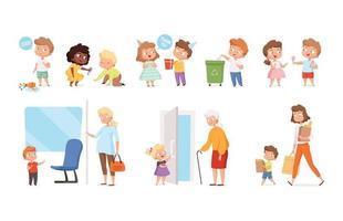los comportamientos de los niños los niños ayudan a respetar a las personas adultas vector