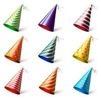 Realistic different festive headwear with various patterns vector