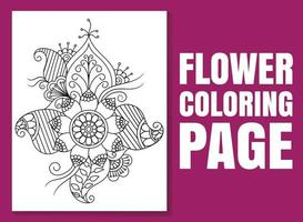 Flower coloring page for adults and children. vector