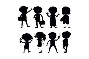 children silhouettes vector eps 10