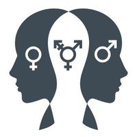 icono de persona transgénero. sexo promedio en humanos. vector