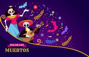 Skeleton With Guitar Background vector