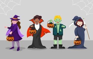 festival de disfraces de halloween para niños vector