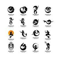 set collection of Mermaid logo icon design illustration vector