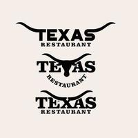 Logotipo de la letra del restaurante de Texas con el diseño del icono del logotipo de Longhorn vector