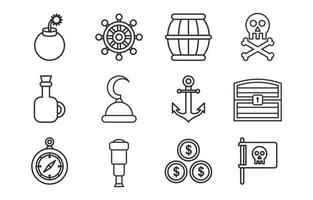 Pirate Outline Object Icon Set vector
