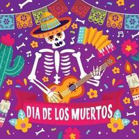 Dia De Los Muertos Colorful Doodle Concept vector