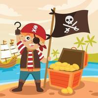 lindo niño pirata con caja del tesoro vector