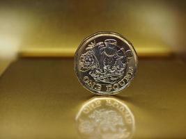 Moneda de 1 libra, reino unido sobre oro foto