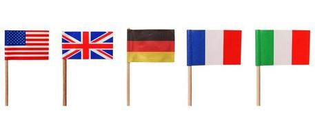 banderas de estados unidos reino unido alemania francia italia foto