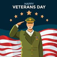 Happy Veterans Day Concept with Soldier Saluting vector