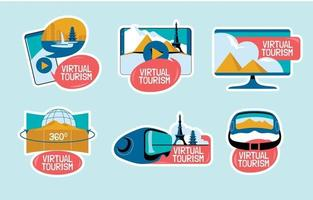 Set of Virtual Tourism VR Sticker vector
