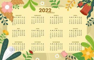2021 Editable Calendar with Floral Decoration vector