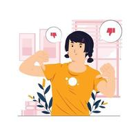 Dislikes and negative feedback concept illustration vector