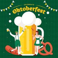 celebración del oktoberfest con gran vaso de cerveza vector