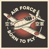 Retro Japanese Air Force Airplane Aeroplane vector