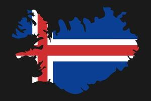 Iceland map silhouette with flag on black background vector