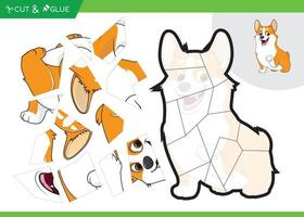 paper craft jigsaw puzzle education game for kids dog theme vector